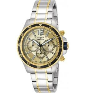 Invicta Specialty 13976 Men's Round Gold Dial Chronograph Analog Watch