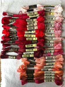 Lot 38 DMC Skeins Red, Pink, Peach Shades Embroidery Floss Cotton Thread