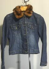 Squeeze Denim Trucker's Jacket With Fur Collar Button Front Women's Large EUC