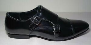 WALK London Size 11 LUCA Black Smooth Leather New Men's Cap Toe Monk Dress Shoes