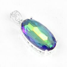 "Christmas Gift! Rainbow Mystical Topaz Gemstone Silver Necklace Pendant 1 3/4"""