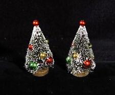 Fabulous Pair Miniature Bottle Brush Christmas Trees w/ Red & Green Balls - Nip