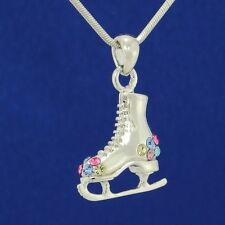 """Ice Skating Shoe Made With Swarovski Crystal Multi Color Pendant 18"""" Chain"""