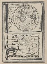 1683 Planisphere Du Monde France 17th Century Copper Plate Engraved Map Mallet