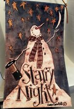 Anne Tavoletti Starry Night Primitive Snowman Wall Hanging Cloth Snowman