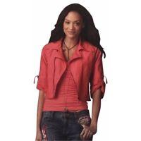 Cabi Womens Cropped Moto Jacket Size Medium M Coral Orange Style 913 Zip Up