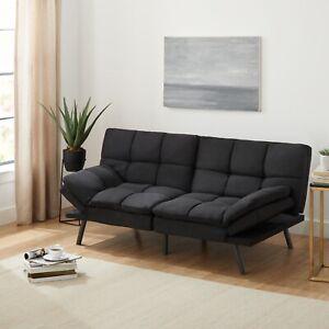 Mainstays Memory Foam Futon, Black Suede Fabric, 72''