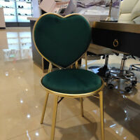 Nordic Style Colourful Velvet Heart Shaped Gold Backrest Dresser Table Chairs