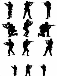 Army fighting men silhouettes Edible Printed Cake Topper Kit Wafer or Icing