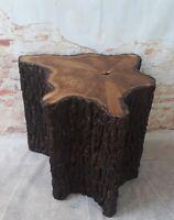 Holztisch 57x52x52cm Beistelltisch Couchtisch Handarbeit Holz Rinde Unikat