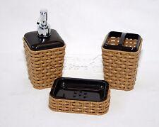 Brown 3PZ tessuti stile Bagno Accessorio Set Portabicchiere BAGNO WC