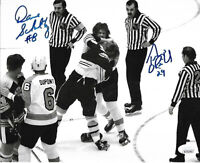 Terry O'Reilly Boston Bruins Dave Schultz Autographed Signed 8x10 Photo coa JSA