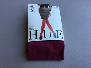 NWT Hue Super Opaque Tights Non Control Top Size 2 Berry #1017G