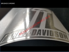 2 x 136mm BRUSHED CHROME CARBON HARLEY DAVIDSON style Willie G ONE decal GOLD
