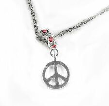 Peace sign diamond cut necklace best peace sign chain gift or present peace char