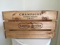 Large Wooden Laurent Perrier Champagne Wine Crate Box Storage Shabby Chic Retro