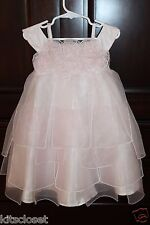 Nordstrom Biscotti Pale Pink Organza Flowers Dress - Size 4 -Flower Girl Wedding