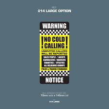 SKU014L - No Sales People - Front Door Letter Box Sign / Sticker - 70mm x 145mm