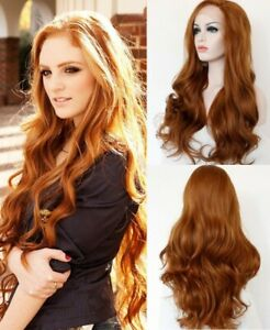 24inch Synthetic hair Lace front wigs  Long Wavy Handtied Brown Full Head