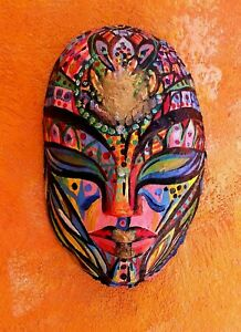 """The Mask""  Papier Mache mask decor art fashion authentic 15 x 25 cm  handmade"