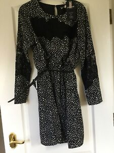 New With Tags Black And Ecru  Print Dress By M&S Limited edition UK10