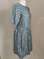 TU Women's Smock Dress A line Gingham Check Print White Navy Tie Sleeve UK 14