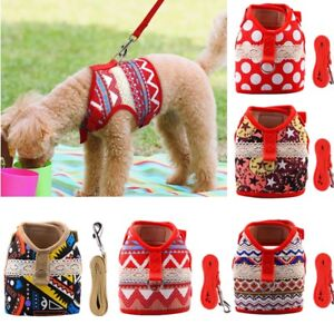 Soft Printed Dog Harness Leash Pet Puppy Cat Vest Jacket For Small Medium Dogs