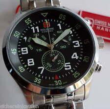 große Herrenuhr (Chrono) swiss military Chronograph SCHWARZ #5263 mit Stahlband