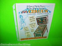 CIRCUS By BALLY 1973 ORIGINAL NOS PINBALL MACHINE PROMO SALES FLYER NM