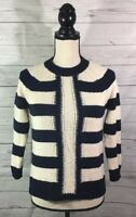 J. Crew Womens Small Knit Sweater Navy Blue Ivory White Striped Cotton Blend