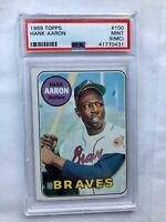 1969 Topps # 100 - HANK AARON - PSA 9 MINT (OC) - HOF - Atlanta Braves