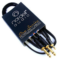 "2 x 1/4"" Mono TS Jack (Pair) to 3.5mm Stereo Mini TRS Jack Audio Cable 1.5m 5ft"