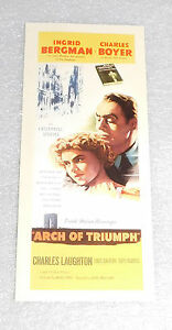 Arch Triumph Ingrid Bergman Charles Boyer Movie Poster Collectors Card 7x3