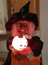 Telco Vintage Animated Motionette Red Eye Flashing Howling Halloween Witch 27""