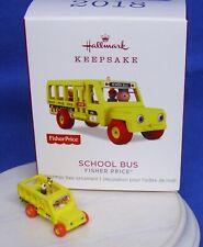 Hallmark Miniature Ornament Fisher Price School Bus 2018 Little People Dog NIB
