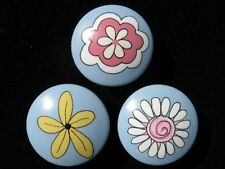 8 FANTASY FLOWERS  - Hand Painted Dresser Drawer Knobs