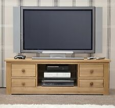 Vermont solid oak furniture large widescreen TV cabinet stand unit
