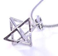 Merkaba Necklace Pendant 3d Star Of David Kabbalah Silver Charm Jewish Megen