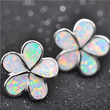 1 Pair Woman Fashion 925 Silver Flower White Fire Opal Charm Stud Earring NEW ~~