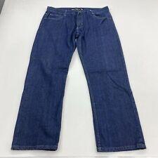 Uncut Denim Jeans Mens 38X30 Blue Straight Leg Medium Wash Zip Fly Flap Pockets