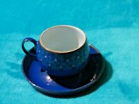 Vintage Denby Midnight Pattern Fine Stoneware Tea Cup And Saucer Free UK P&P