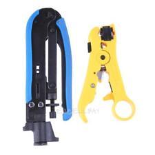 2pcs Coaxial Cable Crimp Pliers Stripper Compression Hand Tools Set E0Xc