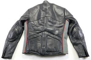 vintage mens Hein Gericke Yamaha leather jacket M 40 black red gray zip padded