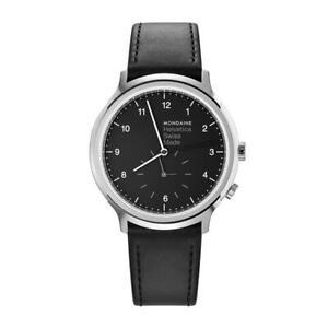 Mondaine Helvetica Regular, Black Leather Watch for Men and Women, MH1.R2020.LB