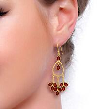 Red Garnet 925 Sterling Silver Drop Dangle Earrings OutStanding Jewelry