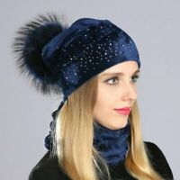 Beanie Hat Winter Warmer For Ladies Pom Pom Rhinestone Cap And Scarves Headwears