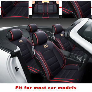 PU leather Deluxe Car Seat Cover 5-Seats Full Front+Rear Cushion W/Pillow Size M