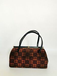 Vintage welsh tapestry classic 1950s handbag, Made in England