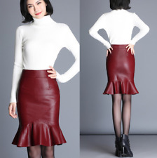 Womens Faux Leather Flared Slim Pencil Skirts High Waist Ruffles Skirts A Line M