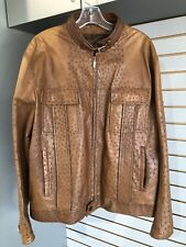 BRIONI Jacket, BRIONI Brown Ostrich Leather Classic Jacket / Bomber Size Large